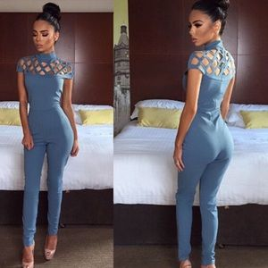 Sexy Baby Blue Club Caged Club Jumpsuit
